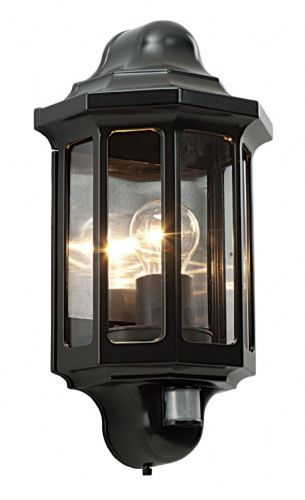 Satin black paint & clear Polycarbonate PIR Sensor Wall Light 1818PIR by Endon